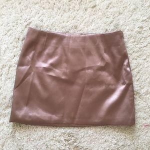 Short Powder Pink Satin Skirt